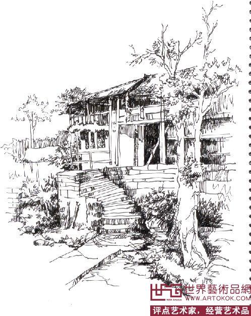 宏村屋顶手绘素描